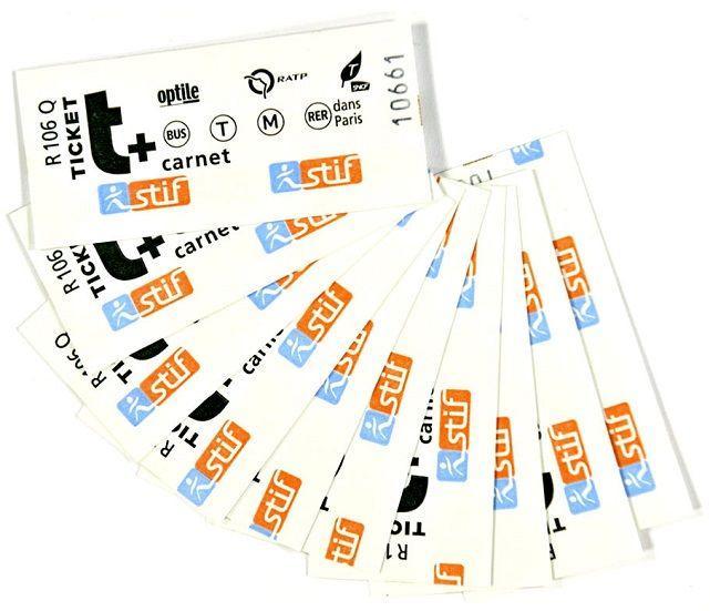 10 billetes de metro parisino ticket t +